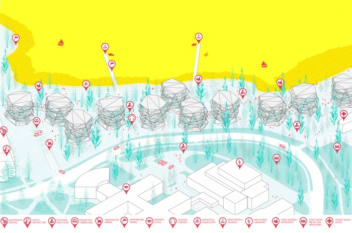 Wild Synapse is not a Project, it is an Attitude. With this proposal the architecture office formed by Borja Sallago Zambrano, Alan Cortez de la Concha, and Manuel Pinilla Fernandez has won the First Prize at Europan13 in Espoo, Finland. Last December 4th they received said award in Helsinki at the hands of Europan Finland's organizers. The office's project approaches an architectural program for students and faculty at Aalto University's campus in Otaniemi, with the particular difficulty of its insertion in woodlands bordering a EU's protected Natura 2000 site. The jury highlighted the proposal's sensitivity for minimizing its footprint on site, as well as its expressive construction, and the adaptability it provides to the relation between inhabitants and surrounding nature. Authors and image copyright holders: Borja Sallago Zambrano, Alan Cortez de la Concha, Manuel Pinilla Fernandez. Competition collaborators: Ana Georgina Hernandez Aranda — graphic designer —, Francisco Crespo Burgueño, Alba Sospedra Arrufat, Luisa Daza Reyes y Fernando Basurto Gallegos — architecture students —. Office's website: bammm architecture office www.bam-mm.com